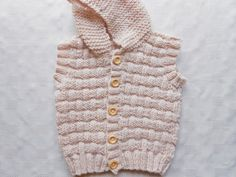 Baby boy sleeveless sweater with hood fawn hand by BabycraftCindy, $21.00