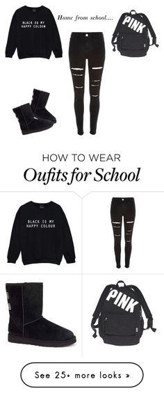 Home From School... by quintan on Polyvore featuring River Island, UGG Australia and Victorias Secret
