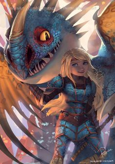 Astrid and Stormfly from RaidesArt - How to train your dragon - . - Astrid and Stormfly from RaidesArt – How to train your dragon – - Dreamworks Dragons, Disney And Dreamworks, Dragons Le Film, Httyd Dragons, Httyd 3, Hiccup And Toothless, Hiccup And Astrid, How To Train Dragon, How To Train Your