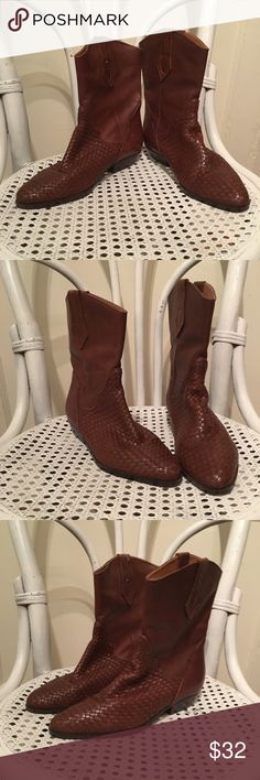 Premier Collection LTD Boots Brown/Brazil/Size 7.5 Fun boots!  Basket woven on front with a touch of western flair on top Size 7.5  Worn in perfectly **Please note wear on backs of heels, inner right heel and a little loosening of some of the weave on outer left boot. Priced to reflect that **  Adorable! premier Collection LTD Shoes Ankle Boots & Booties