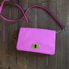 Hot pink cross body bag Merona hot pink cross body bag. Purchased at target. Never worn. Perfect for spring.  Merona Bags Crossbody Bags