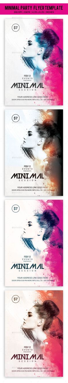 Minimal Party Flyer Template — Photoshop PSD #electro #futuristic • Available…