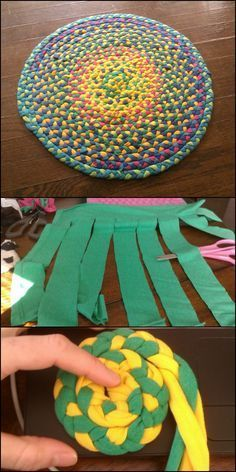 Do you have old t-shirts that you don't wear anymore but don't want to give away? Why not turn them into a cute bedside rug for yourself! It's a beautiful project you can do, especially if your shirts are in rich and vibrant colours!Neat way to cut Recycled T Shirts, Old T Shirts, Recycled Crafts, Teen Shirts, Crafts With Recycled Materials, Fabric Crafts, Sewing Crafts, Sewing Projects, Craft Projects