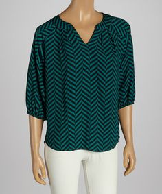 Take+a+look+at+the+Green+&+Black+Zigzag+Top+on+#zulily+today!