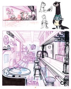 I loooooooooveeeee this style of art. Animation character designs and perspective background Background Drawing, Cartoon Background, Animation Background, Bg Design, Prop Design, Interior Design, Environment Concept Art, Environment Design, Illustrations