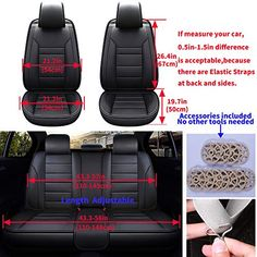 1+1 UNIVERSAL BLACK FRONT FABRIC SEAT COVERS FOR CAR VAN BUS TAXI MOTORHOME
