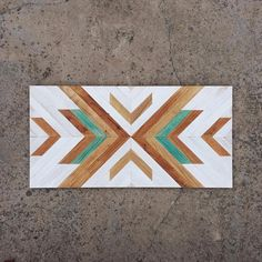 Geometric wood headboard made of reclaimed chestnut wood. Each piece is treated with care during the Reclaimed Wood Wall Art, Wooden Wall Art, Diy Wall Art, Geometric Wall Art, Geometric Designs, Wood Headboard, Headboards, Nature Color Palette, Wood Mosaic