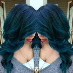 Teal balayage ombre using joico peacock green and cobalt the perfect combo gorgeous!!!