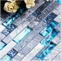 Discount Sale 11sf Sea Blue Glass Tile Kitchen Backsplash Marble Bathroom Interlock Wall Linear Shower Bathtub Fireplace Mosaic Tiles From China | Dhgate.Com
