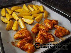 Rezept für selbst marinierte Chicken Wings mit Potato Wedges. Fast genauso schnell gekocht wie Fertigprodukte! Potato Wedges, Chicken Wings, Potatoes, Healthy Recipes, Meat, Food, Leeds, Gallery, Lily