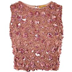 Hazel Hand Embellished Top by Lace & Beads (455 HRK) ❤ liked on Polyvore featuring tops, pink, pink top, red sleeveless top, red top, sequin party tops and sparkly tops
