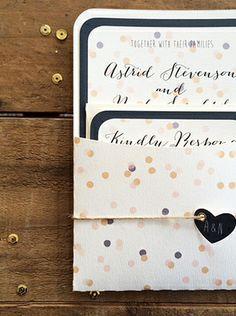 Navy Blue Confetti Wedding Invitation set - via DTLL. - Confetti is so hot for 2014