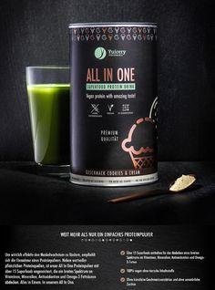 Unser veganer Superfood Protein Drink, der in vier verschiedenen Geschmackssorten erhältlich ist. Egal ob als Protein Drink zum Sport, als Ersatz für eine Mahlzeit oder einfach zum Genuss. All in One überzeugt auf ganzer Linie durch seinen unnachahmlichen Geschmack und seine Wirkung.