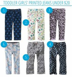 Fun Toddler Girls' Printed Jeans, All Under $20