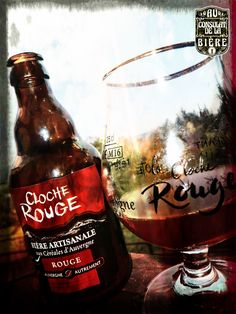 La Cloche Rouge, Bière Auvergnate, Desprat, Fleur de Sureau, Au Consulat de la Bière. Aurillac. M16, Cloche, Whiskey Bottle, Drinks, Food, Craft Beer Glasses, Elder Flower, Red, Drinking