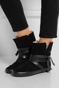 Isabel Marant | Nygel leather and shearling ankle boots | NET-A-PORTER.COM