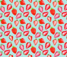 Strawberries Red Watercolour on mint by sylviaoh
