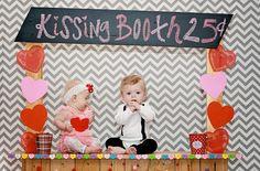 baby girl & boy valentines photo shoot, kissing booth. www.myblossomingbud.blogspot.com