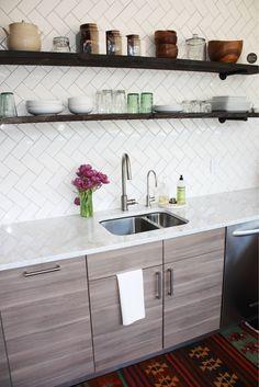 DIY Kitchen Renovation/Remodel, Before and After | Boulder, Co Ikea Sofielund cabinets Open shelving Herringbone Tile Backsplash