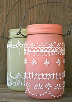 Set of 2 Hanging Mason Jar Lanterns, painted light frosty peach and yellow, Spring decorations.