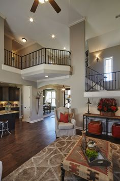 Regency Homebuilders : Great Room, Vaulted Ceiling, Rustic, Scraped Hardwood, Open Concept Living, Granite, Recessed Lighting (Stonecrest of Mississippi - Brighton Plan)
