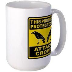 Protected By Attack Crows Mug. By Mega-Shark.com