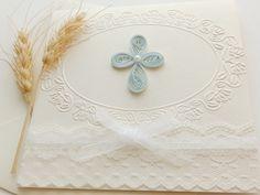 Handmade Cristening invitation/Unique Baptism invitation/Cross invitation/First Communion invitation/White lace invitation/ by mirelaemilia on Etsy