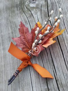 Fall Wedding Boutonniere  Maple  Twigs by TellableDesign on Etsy, $12.00