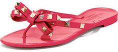 Valentino Rockstud PVC Thong Sandal, Pink   The Pink Frock | Private Client Styling and Personal Shopping Firm | Valentine Gifts