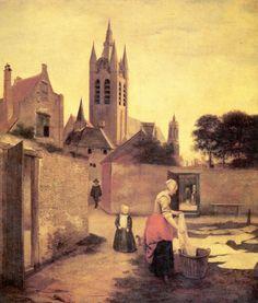 Pieter de Hooch - Vrouw en kind op een bleekweide