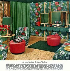 It's just a little busy, this bedroom from the Armstrong vintage flooring ad files. 1950s Interior, Mid-century Interior, Vintage Interior Design, Vintage Interiors, Vintage Room, Bedroom Vintage, Vintage Decor, Retro Vintage, 1950s Bedroom