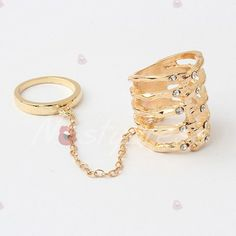 Characteristic Stylish Solid Color Rhinestoned Women's Alloy Ring With Two Fingers