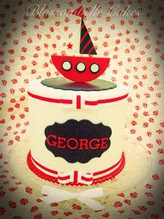 Nautical navy, red and white little boys first birthday cake. Blossombelle Cakes. Eliza Howard Virgona
