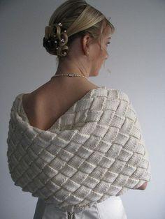 (paid wedding shrug pattern on Rav)-all white entrelac-excellent! Knitting Stitches, Hand Knitting, Knitting Patterns, Crochet Patterns, Tunisian Crochet, Crochet Shawl, Knit Crochet, Crochet Vests, Crochet Cape