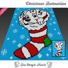 Christmas Dalmatian crochet blanket pattern; c2c, cross stitch; graph; pdf download; no written counts or row-by-row instructions by TwoMagicPixels, $3.99 USD