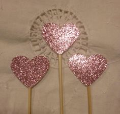 Dusky Pink Glitter Heart  Cupcake Cake Toppers - Wedding Birthday Event. Set of 10 #Pink #Wedding #PinkWedding #Paper