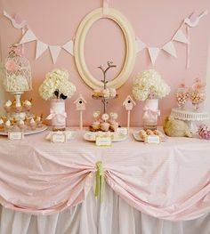 Pale pink baby shower candy table