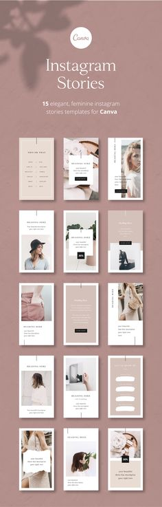 d99cc73dc7ac Instagram Stories Template for Canva. Elegant, feminine Instagram Stories  perfect for lifestyle bloggers,