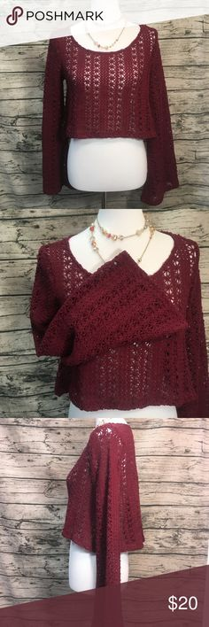 Forever 21 Bell Sleeve Crochet Knit Crop Sweater S Forever 21 Maroon Bell Sleeve Open Knit Crochet Cropped Sweater Sz S. This sweater features a star pattern crocheted throughout. Open knit great for layering. Bell sleeves are on trend right now. Grab this forever 21 Maroon open crochet knit Bell Sleeve cropped sweater today Sz s Forever 21 Sweaters