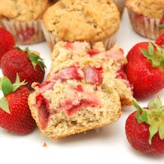 Strawberry Banana Muffins. I had a bunch of over-ripe bananas and strawberries and these were a good way to use them up. I baked them for 22 minutes and they were a little mushy so next time I would bake a little bit longer but they are still very good!