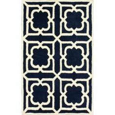 @Overstock - Inspired by the latest trends in Moroccan trellis patterns, these rugs will add a touch of classic to any decor.   This rug is woven with 100-percent wool.http://www.overstock.com/Home-Garden/Handmade-Luna-Moroccan-Trellis-Navy-Wool-Rug-5-x-8/7022232/product.html?CID=214117 $197.99