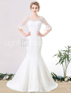 Trumpet / Mermaid Wedding Dress Court Train V-neck Lace / Tulle with Pearl 2017 - $119.99