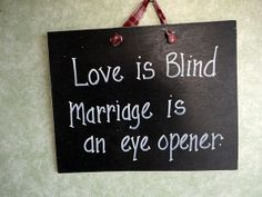 Love is blind wood hand painted sign marriage eye by kpdreams, $8.99