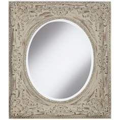 "Lovilia 33"" High White Washed Decorative Wall Mirror"