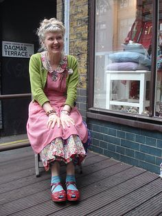 When I am old...I shall wear a pink smock, green sweater, blue socks and red shoes.