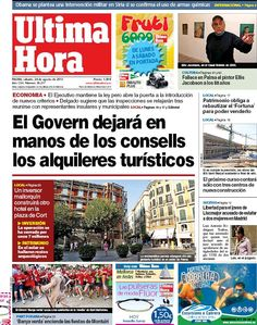 Los Titulares y Portadas de Noticias Destacadas Españolas del 24 de Agosto de 2013 del Diario Ultima Hora ¿Que le pareció esta Portada de este Diario Español?