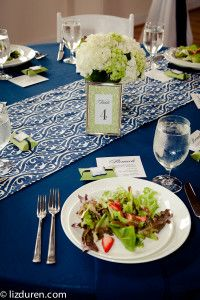navy and green wedding  patterned runners  nautical and preppy wedding  citadel beach house