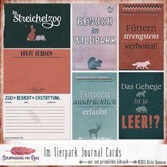 Ein Set mit acht deutschsprachigen Scrapbook Journaling Karten zum Thema Zoo, Tierpark, Wildpark.