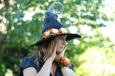Handmade wet felted witch's hat. This would be neat for a costume or for decoration! https://www.etsy.com/listing/151246485/custom-made-adorable-witch-hat-with