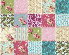 Vintage pattern ~ print pieces for faux miniature dollhouse quilt | Source: Unknown